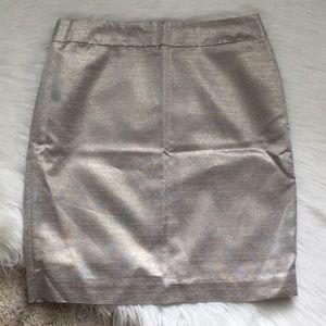 NWT LOFT Silver/Gold Metallic Skirt - Sz 4